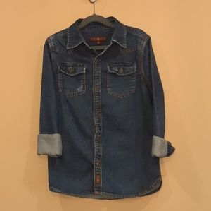 Girls size medium 7 for all man kind Denim shirt